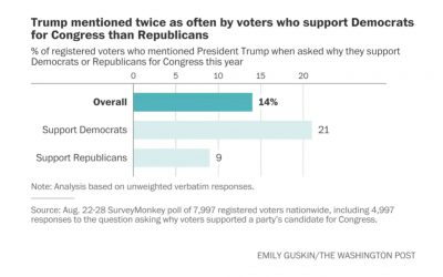 Analysis: Democrats are twice as likely as Republicans to name Trump as a reason for their pick in congressional elections